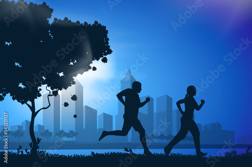 Vector drawing running athletes