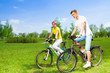 Two people on bikes