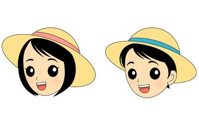 帽子をかぶった子供