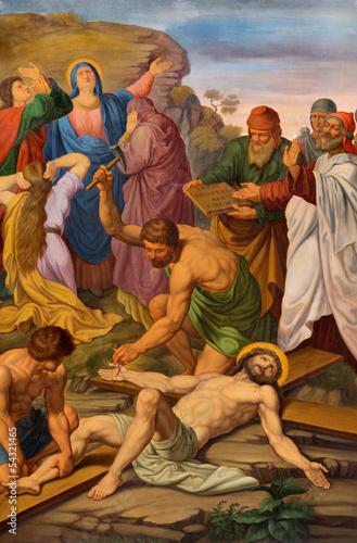 Vienna - Crucifixion of Jesus. One part of cross way