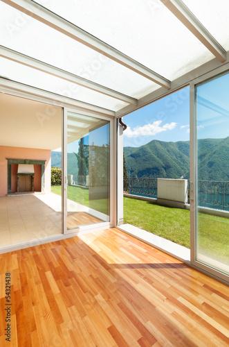 Interior apartment with garden, veranda