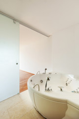 Interior apartment, view bathroom with bath