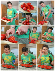Collage - Tomaten schneiden