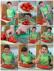 Collage - Tomaten schneiden
