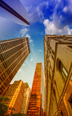 Upward view of Skyscrapers in lower Manhattan - New York City