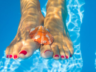 underwater picture of feet in a swimming pool