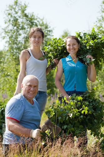 Family making birch branches