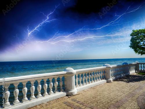 Fototapeta Wonderful stone balcony with great ocean view