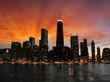 Leinwanddruck Bild - Wonderful Chicago Skyscrapers Silhouette at sunset