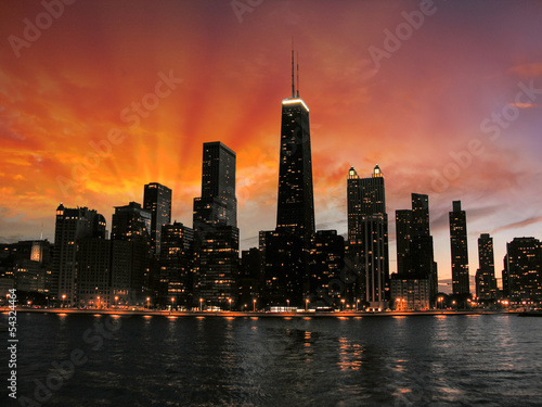 Leinwanddruck Bild Wonderful Chicago Skyscrapers Silhouette at sunset