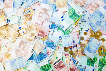 Money pile, Euros, Pounds Sterling