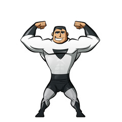 Super strong hero in black and white suit in a power gesture