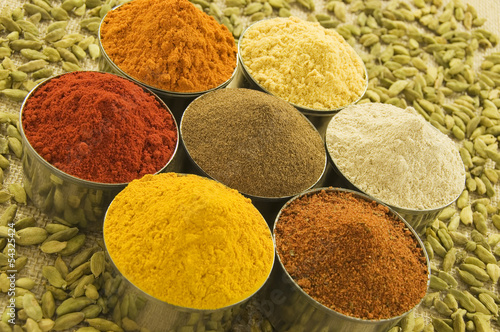 Spice powders and Cardamom seeds