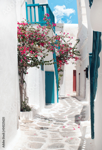 Poster Traditional greek alley on Mykonos island, Greece