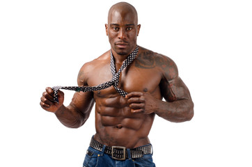 Strong bodybuilder man with perfect abs, shoulders,biceps, chest