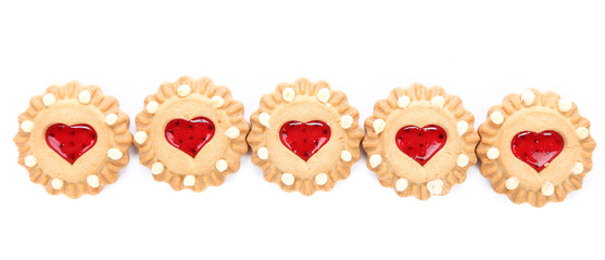 Row heart shaped strawberry biscuit.