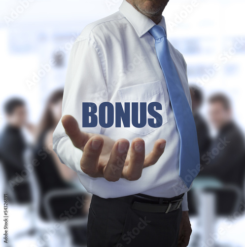 Smart businessman holding the word bonus