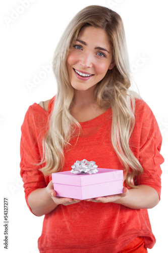Blonde woman receiving a gift