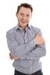 Lachender junger erfolgreicher Geschäftsmann isoliert