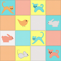 children's seamless background with baby animals from fabric