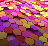 3D  multicolored abstract tiled background - 54329064