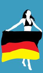 Frau mit deutscher Flagge