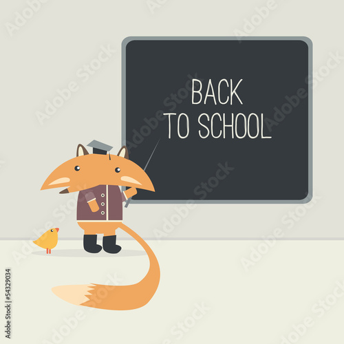 Back to school. The fox teaches the little chicken