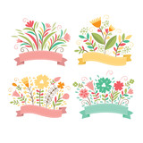 Fototapety Set of floral bouquets and romantic frames, vector collection