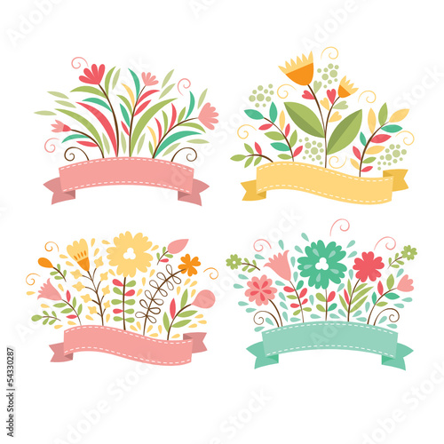 Set of floral bouquets and romantic frames, vector collection
