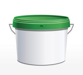 Seau plastique blanc - couvercle vert