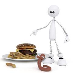 The 3D little man with a hamburger.