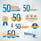 Set of happy anniversary design elements