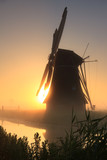 Dutch sunrise at windmill