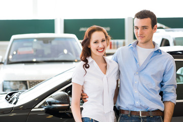 Young couple in the showroom