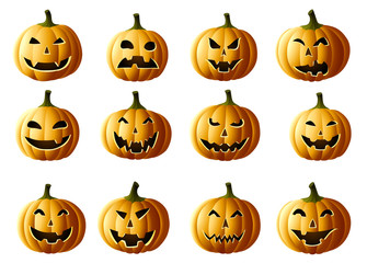 Set of Jack-o-lanterns
