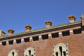 Chimnies on Hospital of Saint Paul. Barcelona. Spain