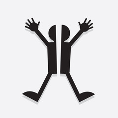 Silhouette figure split in half