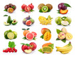 Set of exotic fruits isolated on white