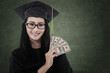Beautiful graduate student get money