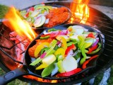 Sizzling healthy fajita beef and veggie dinner barbecue grill