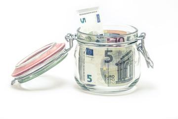 Euronoten im Einmachglas