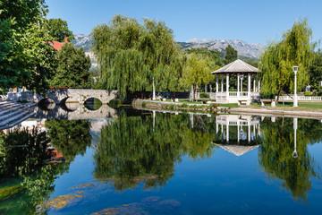 Picturesque Landscape, Stone Bridge, Pavilion, River and Willow,