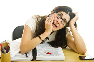 Stressed woman with exams