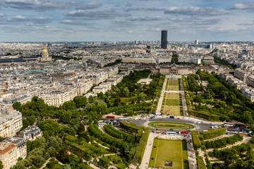 Aerial View on Champ de Mars and Invalides from the Eiffel Tower