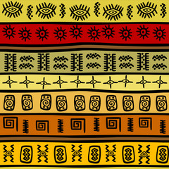 African hand-drown ethnic pattern, tribal background