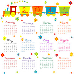 2014 calendar with train for kids
