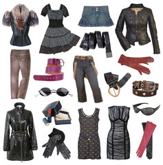 set of fashionable stylish clothes