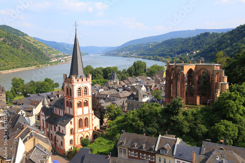 canvas print picture Bacharach (liinks St. Peter, re. Wernerkapelle) - 2013