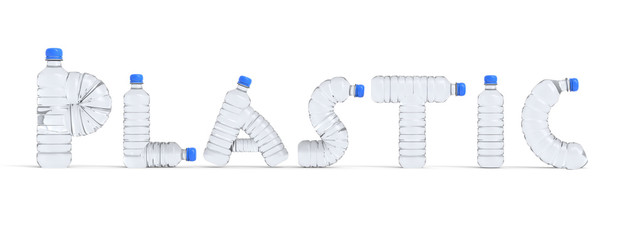 Texto con botellas de plástico