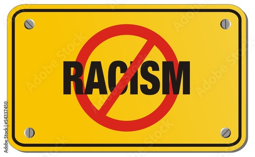 anti racism yellow sign - triangle sign